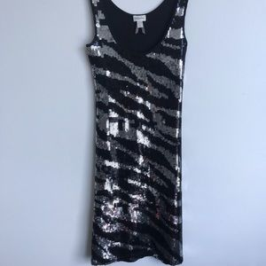 LIKE NEW!!🖤 Animal print sequins night mini dress
